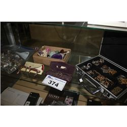 SHELF LOT OF ASSORTED JEWELRY, COLLECTABLE ROCKS & MORE