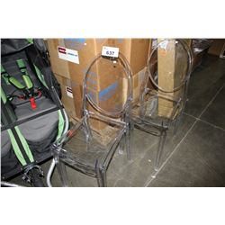 PAIR OF CLEAR PLASTIC CHAIRS