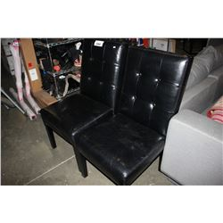 PAIR OF BLACK BUTTON BACK CHAIRS