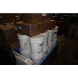 ROLLING BIN OF ASSORTED UNICON CONCRETE PRODUCTS INCLUDING FILLER, BASE AND MORE