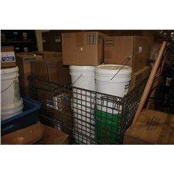 ROLLING CRATE OF ASSORTED UNICON CONCRETE PRODUCTS INCLUDING FILLER, BASE AND MORE (CRATE NOT