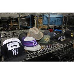 SHELF LOT OF ASSORTED HATS