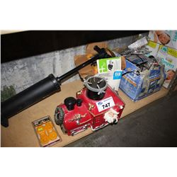 SHELF LOT INCLUDING PUMP, CHRISTMAS TREE STAND, MONEY COUNTER AND MORE