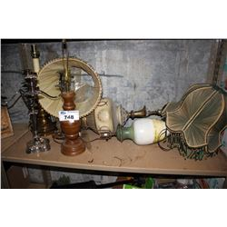 SHELF LOT OF ASSORTED LAMPS AND CANDELABRAS
