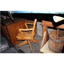WOOD DESK, ROLLING CHAIR AND MORE