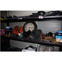 SHELF LOT INCLUDING BOXING GLOVES, CLOCK, MORTAR AND PESTLE, AND MORE