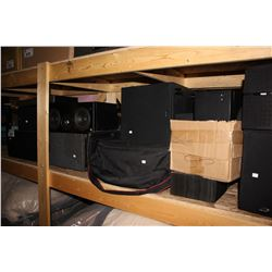 LARGE SHELF LOT OF SPEAKERS AND BOSE FREESPACE SYSTEM CONTROLLER