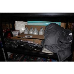 SHELF LOT INCLUDING CASE OF SHAMPOO, WEIGHTED BLANKET AND MORE