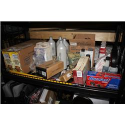 SHELF LOT INCLUDING CASE OF CHICKEN STOCK, SHAMPOO, CASE OF STA-BIL ETHANOL TREATMENT AND MORE