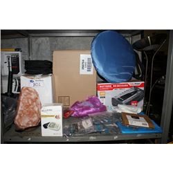 SHELF LOT INCLUDING SALT LAMPS, BLOOD PRESSURE MONITOR, CYBERPOWER POWER BAR, ORGANIZERS AND MORE