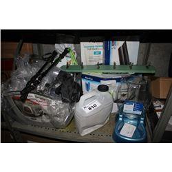 SHELF LOT OF PET SUPPLIES INCLUDING BETTA FALLS, WATER FOUNTAIN, LITTER BOX, FOOD, MEDICINE AND