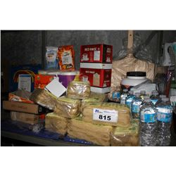 SHELF LOT INCLUDING RED ROSE TEA, BROWN RICE VERMICELLI, GOLDFISH, WATER BOTTLES, COMPLETE