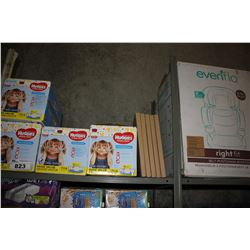 SHELF LOT OF HUGGIES FRESH SCENTED WIPES AND SILVER WALL MOUNT FRAMES, CHILDREN'S CAR SEAT