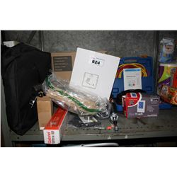 SHELF LOT INCLUDING CLEAR TOUCH THERMOSTAT, GABRIEL ULTRA, WALL MOUNT MIRROR AND MORE