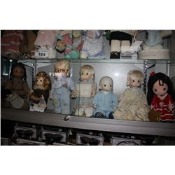 SHELF LOT OF ASSORTED COLLECTABLE DOLLS