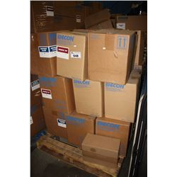 PALLET OF ASSORTED UNICON CONCRETE PRODUCTS INCLUDING FILLER, BASE AND MORE