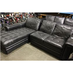 BLACK LEATHER LAZBOY SECTIONAL