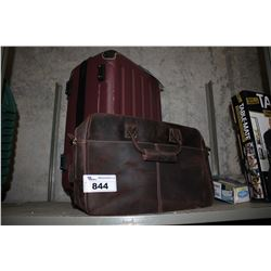 RED LUGGAGE AND LEATHER LAPTOP BAG