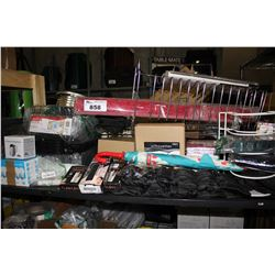 SHELF LOT INCLUDING SHOE RACK, DISH DRAINERS, FLAWLESS HAIR REMOVAL DEVICES, ANKLE WEIGHTS AND MORE