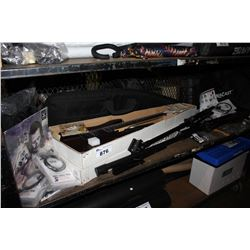 SHELF LOT INCLUDING VENDETTA ELECTRIC GUITAR, MIC STANDS, RECORDS, POWER CABLES, DRUM STICKS AND