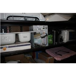 SHELF LOT INCLUDING DOUBLE BASIN SINK, ELECTRIC WATER DISPENSING POT, KEURIG 2.0 AND MORE