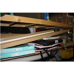 SHELF LOT INCLUDING TOWEL WARMER AND DRYING RACK, HANGING LAMPS, FLOOR MATS AND MORE