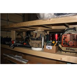 SHELF LOT OF TOOLS INCLUDING STIHL BR 400 BLOWER, PASLODE NAILER MODEL F350S AND MORE