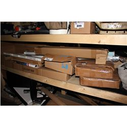 SHELF LOT INCLUDING WINDSHIELD WIPERS, LED LIGHT BAR, BRAND NEW BLINDS AND MORE
