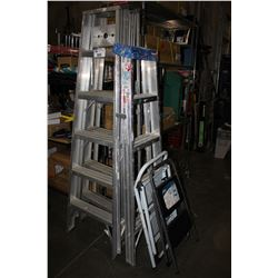 THREE LADDERS AND TWO STEP STOOLS