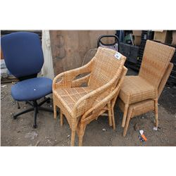 LOT OF ASSORTED WICKER AND FABRIC CHAIRS