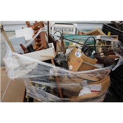 PALLET OF COLLECTABLES, TOOLS, BOOKBINDING SUPPLIES AND MORE