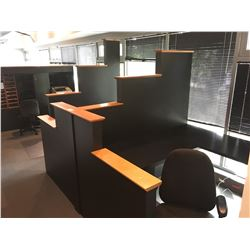 2 UNIT HALLWAY WORK STATION SYSTEM AND CHAIRS