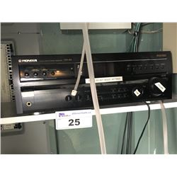 PIONEER STEREO RECEIVER WITH ALL CEILING/WALL MOUNT SPEAKERS IN UPSTAIRS OFFICE
