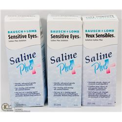 LOT OF 3 SALINE PLUS CONTACT SOLUTIONS