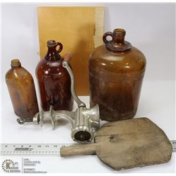 ANTIQUE MEAT GRINDER AND GLASS BOTTLES