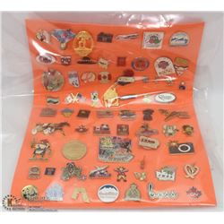 SHEET OF 67 LAPEL PINS INCLUDING OTHER COUNTRIES