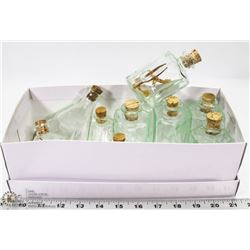 FLAT OF GLASS CONTAINERS WITH CORK LIDS