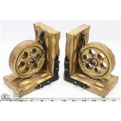 VINTAGE STYLE CHAINED WHEEL BOOKENDS