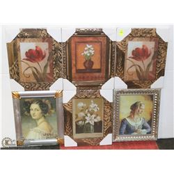9 ASSORTED FRAMED PICTURES