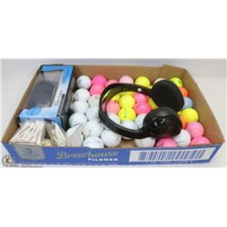 FLAT OF ASSORTED GOLF BALLS AND GOLF BALL FINDER