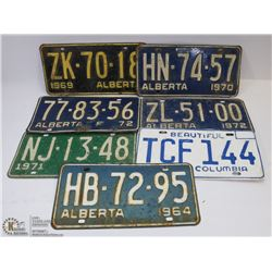7 LICENSE PLATES - 1964-1972