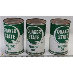 3 QUAKER STATE QUART CANS.