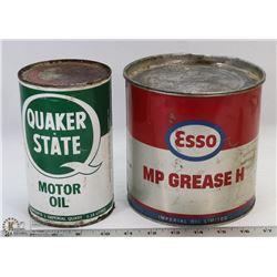 ESSO 5LB GREASE TIB & ONE QUAKER STATE QUART CANS.