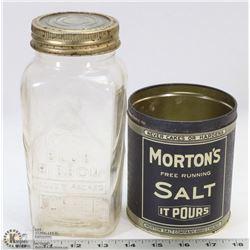 MORTONS SALT TIN & EMBOSSED BLUE RIBBON MASON JAR