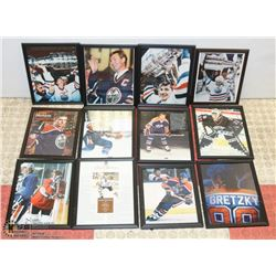 LOT OF 12 EDMONTON OILER FRAMED PICTURES.