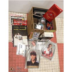 BOX OF ASSORTED HOCKEY MEMORABILIA INCL BOX OF