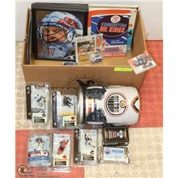 BOX OF ASSORTED HOCKEY MEMORABILIA INCL OILER BEER