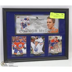 CONNOR MCDAVID HOCKEY CARD FRAMED PICTURE.
