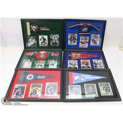 LOT OF 6 MINI JERSEY FRAMED PICTURES INCL QUEBEC,