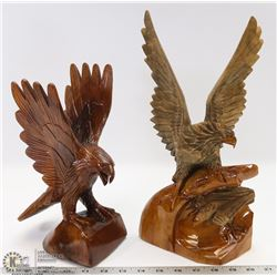 LOT OF 2 EAGLE WOOD CARVINGS.